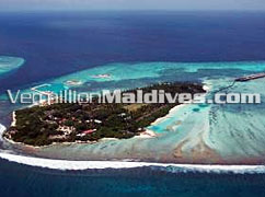 The Island of Hudhuranfushi where the Ocean Villas at the end