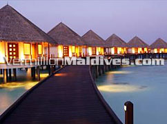 Adaaran Prestige Water Villas at Night.  A Five Star Maldives Hotel