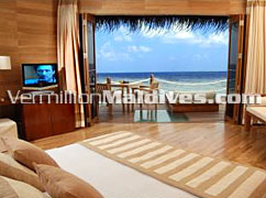 Bed Room accommodation. A Luxury Maldives Hotel