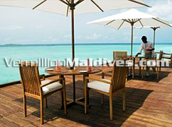 Open air dining. Maldives Resort Adaaran Water Villa Hotel