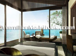 Bedroom with Ocean View - Aqua Villas in Alila Villas Hadahaa Maldives