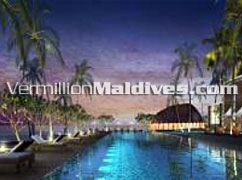Pool side of Alila Villas Hadahaa Maldives – accommodation available via VermillionMaldives
