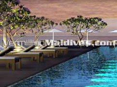Sun beds near pool of Alila Villas Hadahaa – Five star Luxury Resort Hotel in Maldives