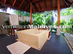 Bathroom of Beachfront Villa Maldives. A Honeymoon Resort Hotel
