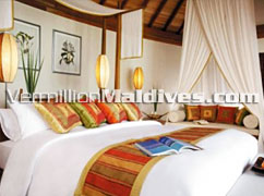 Bedroom, Deluxe Over Water Suite at Anantara Maldives Beach & Spa Resort