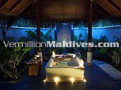 Deluxe Beachfront Villa Bathroom Anantara Dhigu Hotel Resort Maldives.
