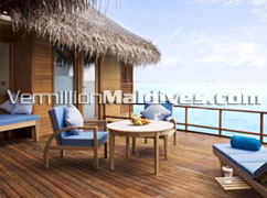 Deluxe Over Water Suite Terrace. Anantara Dhigu Maldives. A Honeymoon Resort Hotel