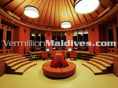 Library at Anantara Maldives Dhigu resort hotel.