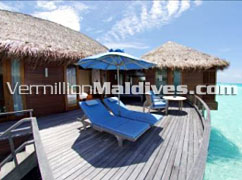 Sundeck of Deluxe Over Water Suite on Maldives Anantara Dhigu. Special & beautiful
