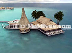 Over water restaurant of Anantara Kihava Villas Maldives- Luxury Resort in Baa Atoll