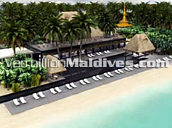Sunbathing area of Anantara Kihava Villas – New resort In Baa Atoll