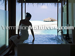 Deluxe Over Water Bungalow Bathroom –beautiful view & discount rates
