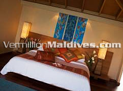 Over Water Bungalow Bedroom – Inside the accommodation