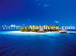 Aerial View Angsana Ihuru Maldives. A Luxury beach Hotel