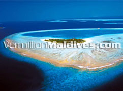 Aerial View Of Angsana resort Velavaru Maldives. A Luxury Hotel