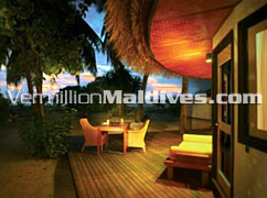 Sunset at the Breakfast Deck at Velavaru : A Honeymoon resort