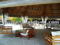 Out side the bar – Athuruga Maldives. Book your seat