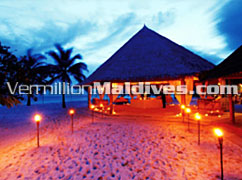 Outside restaurant at Night – Athurugau Maldives.