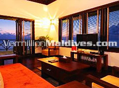 Bandos Beach Villa. Room & View. Luxury accommodation