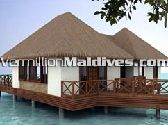 The Water Villa accommodation. Maldives resort island Bandos