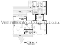 Water Villa flor plan. Bandos Island Resort Maldives