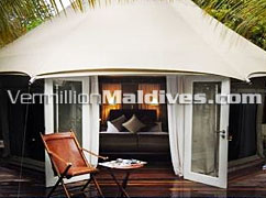 Lavish & royal Bed room. View from Private Pool at Madivaru Maldives. A Private Resort Islands