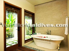 Accommodation. Baros Villas. The Bathroom are well desgined with luxury.