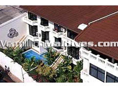 Aerial view of the Hotel Candies Maldives at Male' the capital Island