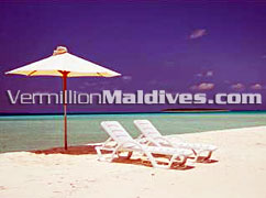 Beach Sun chairs for Sunbathing in a Maldives Beach Resort
