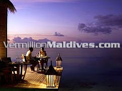 Dine with your loved one under the beautiful sunset at Mandhoo Spa Restaurant Conrad Hotel Maldives