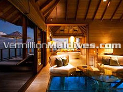 Glass bottom floor, 180 rotating bed…. Luxury Sunset Water Villas in Maldives Conrad