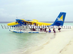 Transfer to the resort Constance Halaveli Resort is made by Seaplane