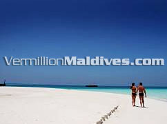 A walk on the white powdery beach at Dhoni Maldives