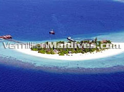 Aerial picture of Dhoni Island Maldives. Luxury Maldives Hotel Retreat