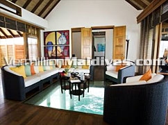 Comfortable Interior of Water Villas at Hotel Maldives DIVA