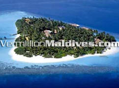 Aerial Image of three star Maldives Beach Resort hotel Embudhu Village