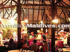 Maldives hotel Embudu Village's Restaurant serving meals
