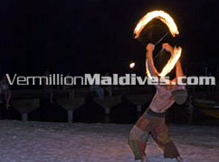 Fire Dancing Embudu Village Resort Hotel Maldives