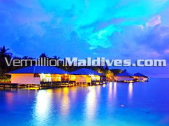 Water Bungalows at night Embudu Village Resorts  Maldives