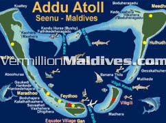 Map of Addu Atoll where Equator Village Maldives is