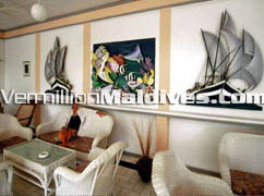 Main Lobby of Hotel Equator Village Maldives located in the most southern atoll in Maldives