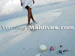A Walk on the soft white sandy beach of Eriyadhu Maldives
