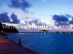 Jetty of the Maldives Island Eriyadhu at North Male Atoll. Your Maldives Holiday place