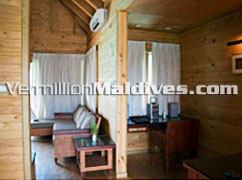 Living Area: Maldives Water Bungalows with Cheap Rates
