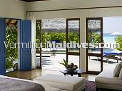 Royal Beach Villa Bedroom at five star Luxury Maldives Hotel