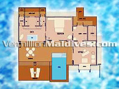 Floor Plan of Infinity Water Villa with Private Pool on Irufushi Maldives Spa Resort