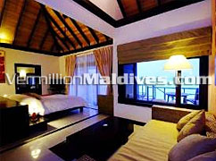 Inside the Water Villa of Hiltons Maldives/Irufushi Resort & Spa. A honeymooners Holiday Hotel
