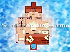 Irufushi Jacuzzi Water Villa or Horizon Water Villas Floor Plan – Value for money vacation resort Maldives