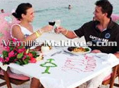 Lunch or Dinner on Beach at Holiday Island Maldives. A Beach Holiday Hotel