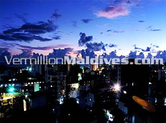 Male', Maldives Sunset view from the top of HOTEL FRESCO